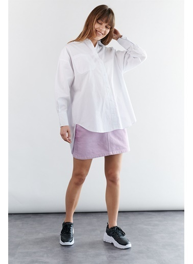 Levure Uzun Oversize Tunik Gömlek Beyaz